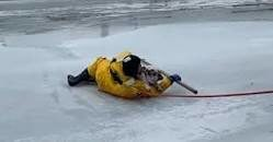 Rescuer and saved dog on ice